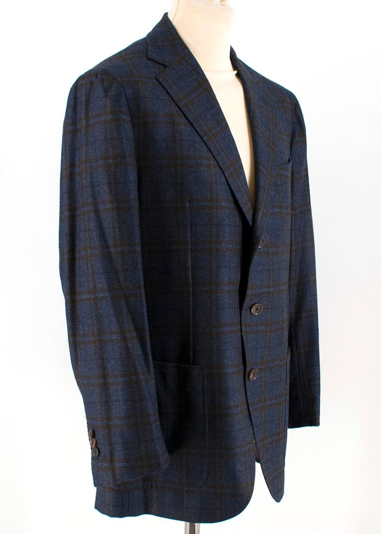 Doriani Navy Checked Wool, Cashmere & Silk Blend Blazer  - It features two front pockets, single breasted pocket (left), four interior pockets  - Single breasted, brown button fastening - Brown button cufflinks   Please note, these items are