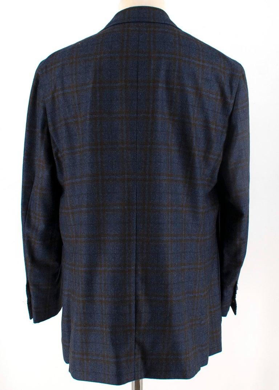 Black Doriani Navy Checked Wool, Cashmere & Silk Blend Blazer - Size XL EU 54  For Sale