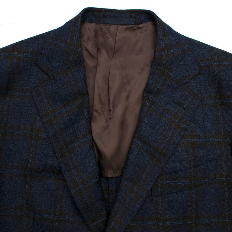 Doriani Navy Checked Wool, Cashmere & Silk Blend Blazer - Size XL EU 54  In Excellent Condition For Sale In London, GB