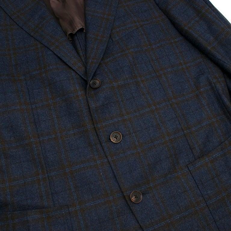 Men's Doriani Navy Checked Wool, Cashmere & Silk Blend Blazer - Size XL EU 54  For Sale