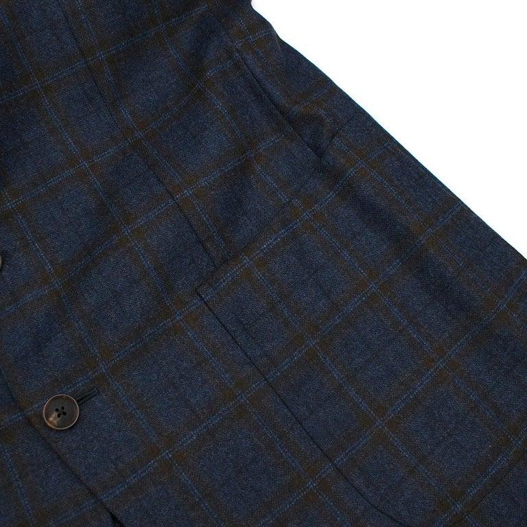 Doriani Navy Checked Wool, Cashmere & Silk Blend Blazer - Size XL EU 54  For Sale 1