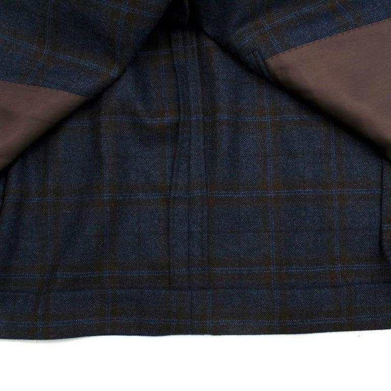 Doriani Navy Checked Wool, Cashmere & Silk Blend Blazer - Size XL EU 54  For Sale 2