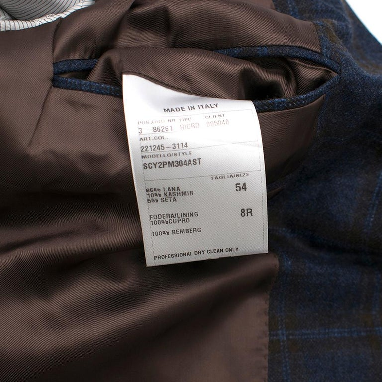 Doriani Navy Checked Wool, Cashmere & Silk Blend Blazer - Size XL EU 54  For Sale 3