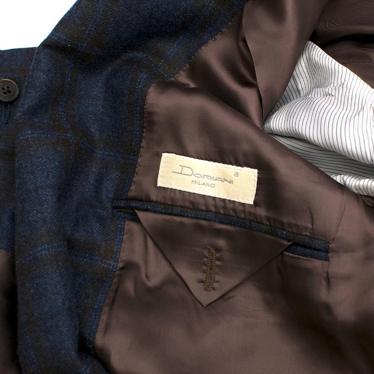 Doriani Navy Checked Wool, Cashmere & Silk Blend Blazer - Size XL EU 54  For Sale 4