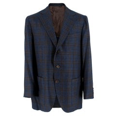 Doriani Navy Checked Wool, Cashmere & Silk Blend Blazer - Size XL EU 54
