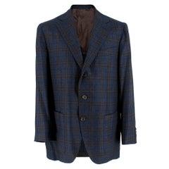 Doriani Navy Checked Wool, Cashmere & Silk Blend Blazer - Size XL EU 54