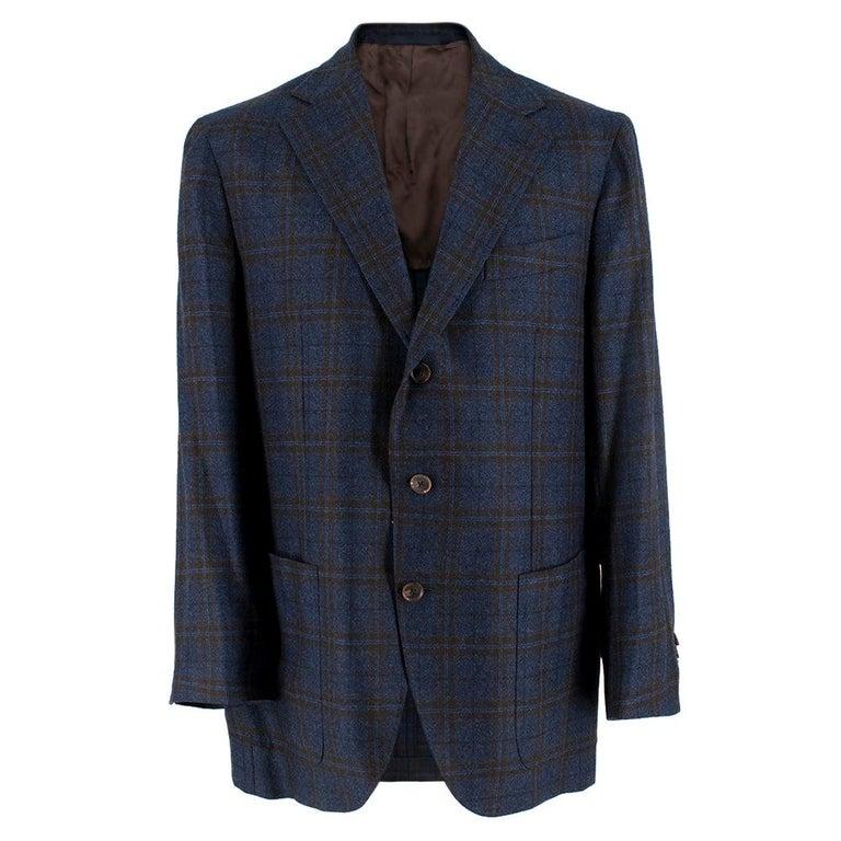 Doriani Navy Checked Wool, Cashmere & Silk Blend Blazer - Size XL EU 54  For Sale