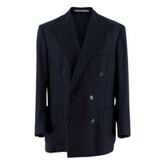 Doriani Navy Wool Knit Double-Breasted Tailored Jacket - Size XXL - 54