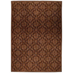 Dorie Leslie Blau Collection Modern Pavilion Design Geometric Brown Wool Rug