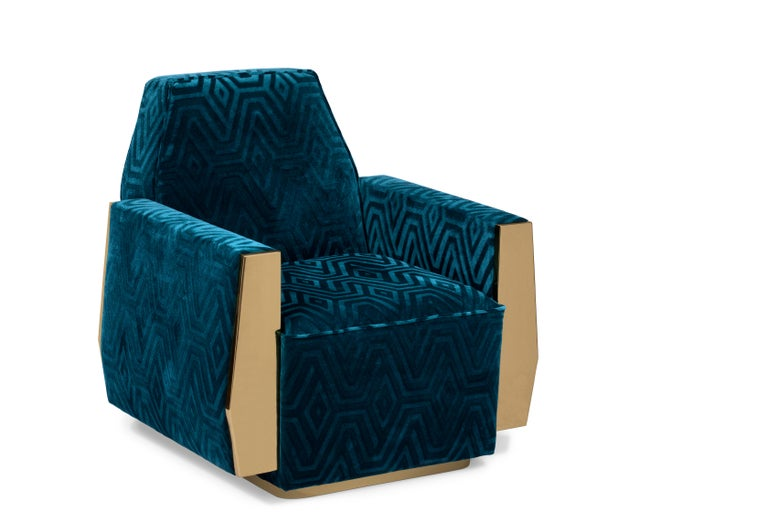 Doris Armchair in Teal Blue Velvet For Sale at 1stdibs