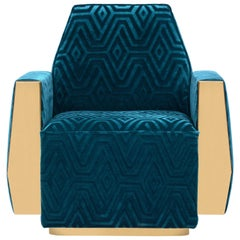 Doris Armchair in Teal Blue Velvet