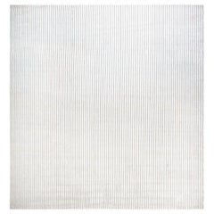 Doris Blau Collection Modern Wool Rug in Light Brown and White Vertical Stripes