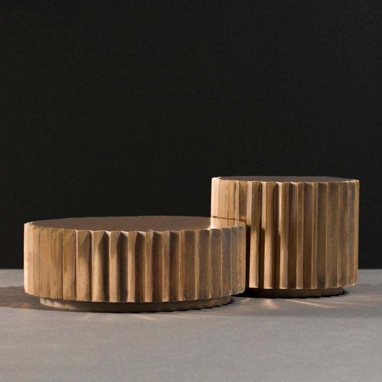 Contemporary Doris Cast Bronze and Blackened Bronze Multifaceted Coffee Table Set For Sale