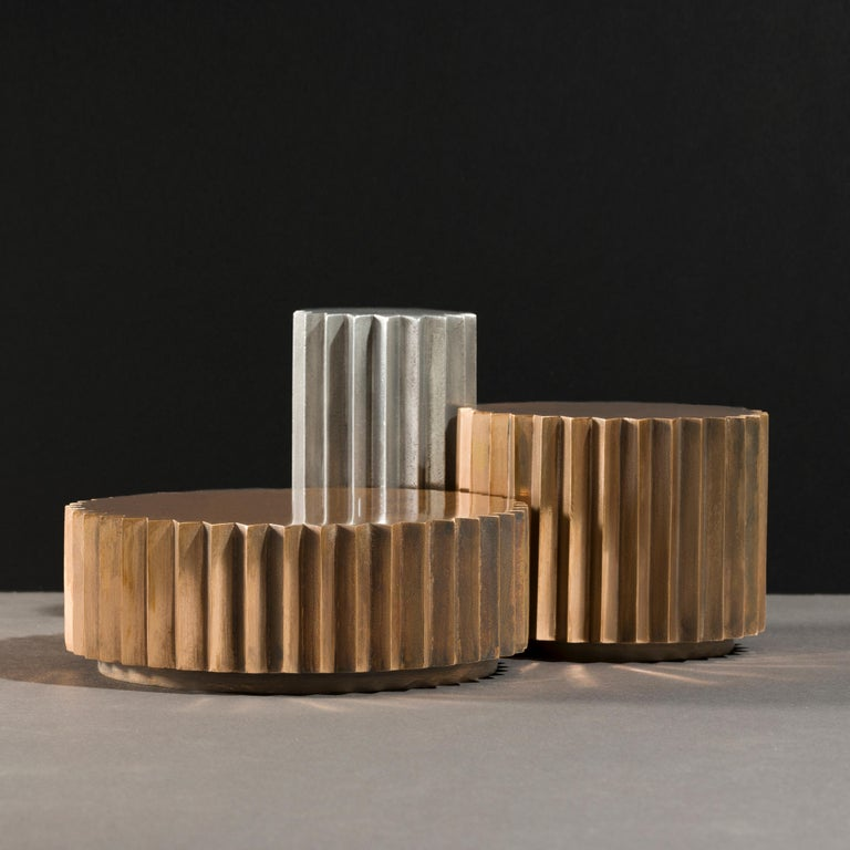 Italian Doris Cast Bronze, Blackened Bronze and Aluminum Multifaceted Coffee Table Set For Sale