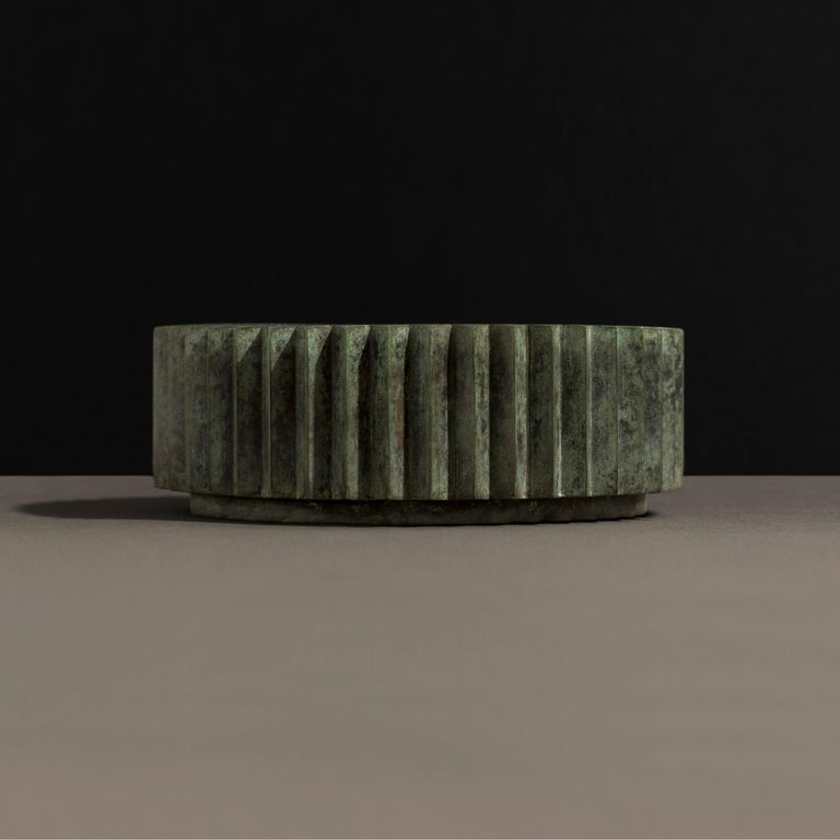 Modern Doris Cast Bronze Multifaceted Coffee Table with Tuscan Green Patina For Sale