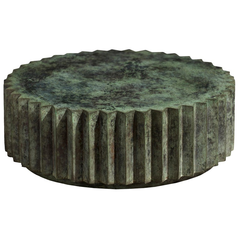 Doris Cast Bronze Multifaceted Coffee Table with Tuscan Green Patina For Sale