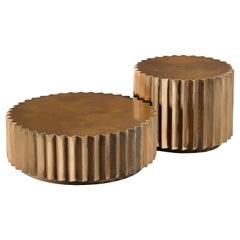 Doris Cast Oxidized Bronze Multifaceted Coffee Table Set