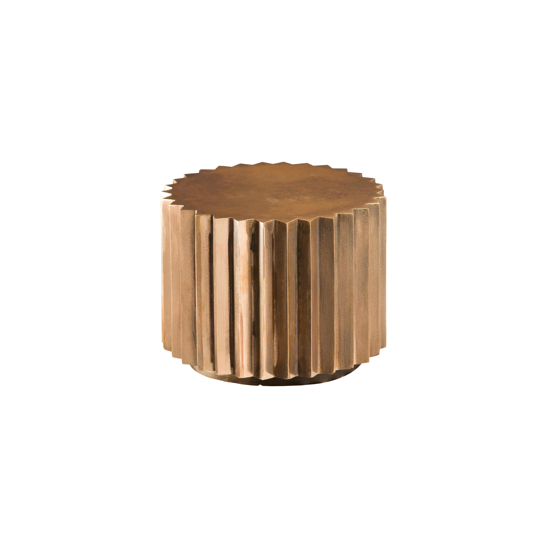 Doris Cast Oxidized Bronze Multifaceted Side Table