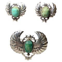 Doris Cliff Egyptian Revival Scarab Earrings Brooch Sterling Silver Faience