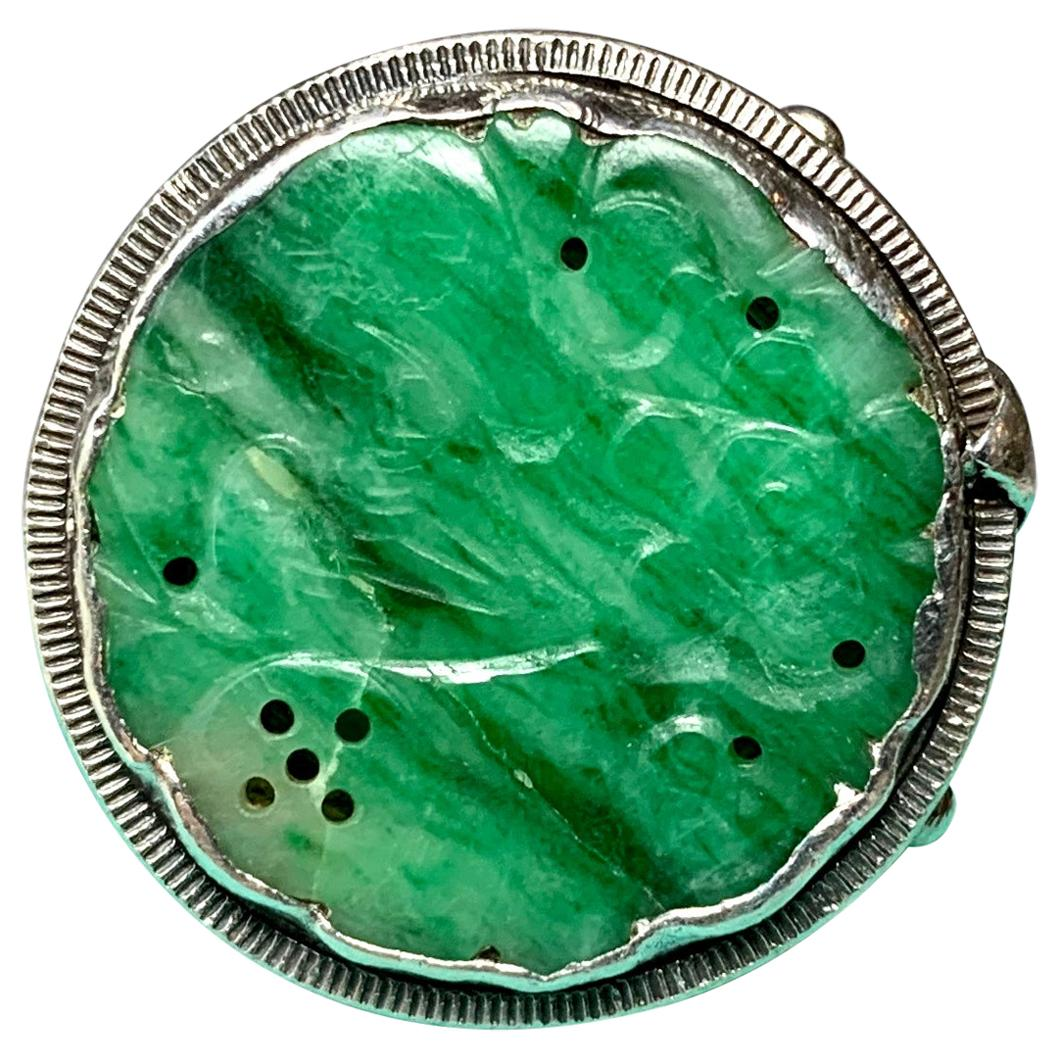 Doris Cliff Jade Ring Mid-Century Modern Flower Motif Sterling Silver