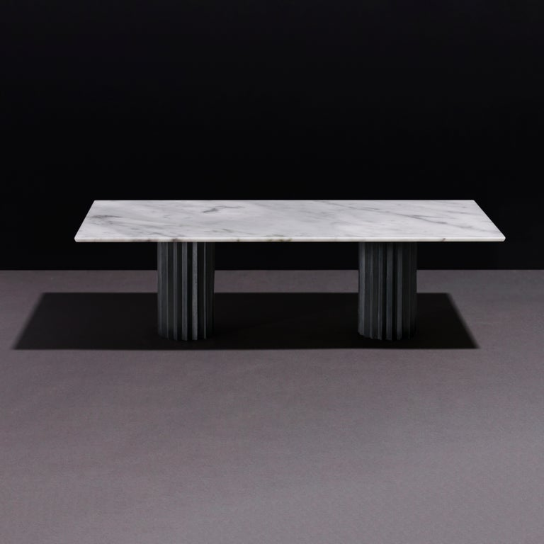 Modern Doris Double Pedestal Dining Table in White Carrara Marble and Blackened Bronze For Sale