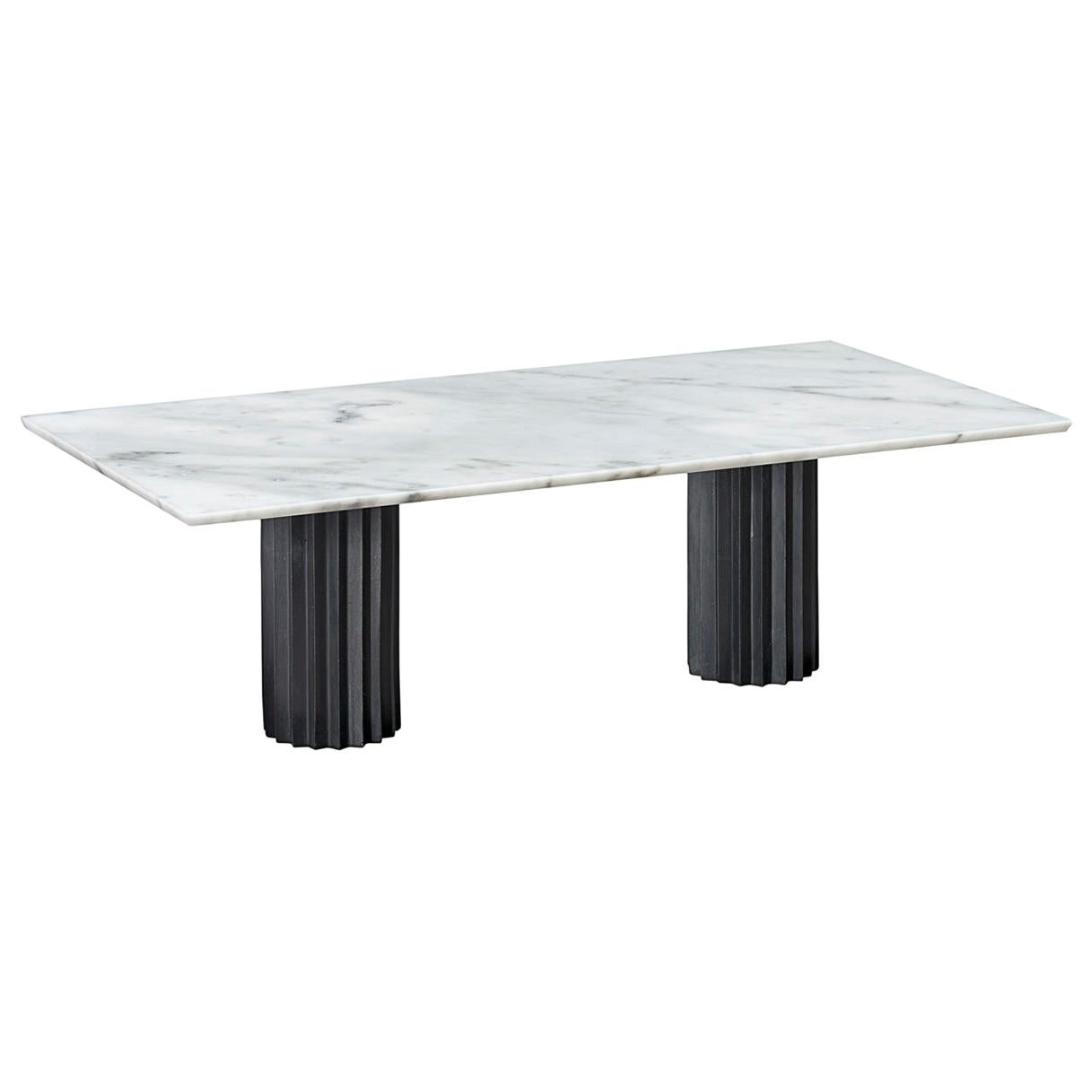 Doris Double Pedestal Dining Table in White Carrara Marble and Blackened Bronze