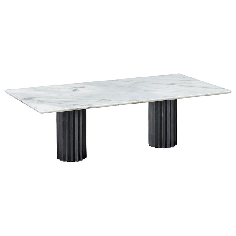 Doris Double Pedestal Dining Table in White Carrara Marble and Blackened Bronze For Sale