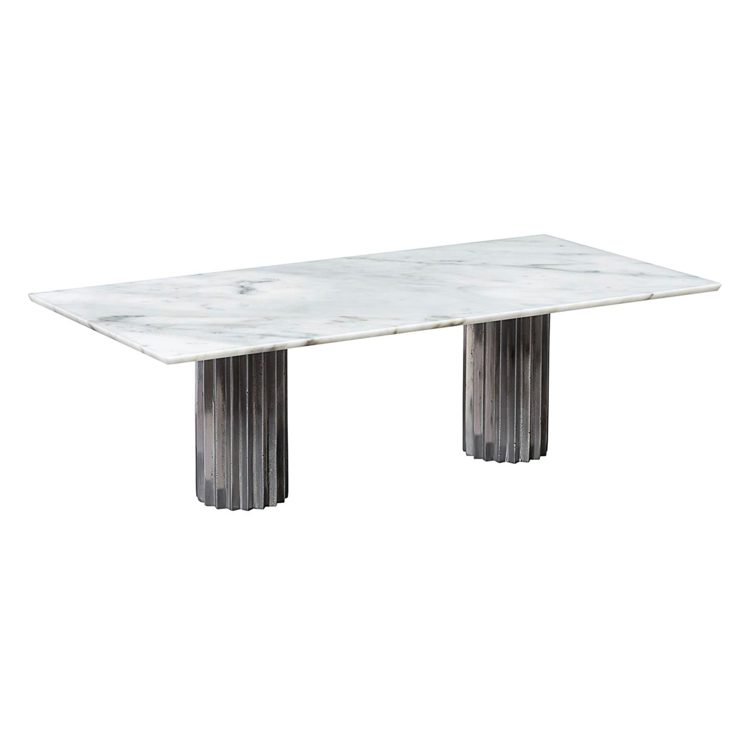 Doris Double Pedestal Dining Table in White Carrara Marble and Cast Aluminum