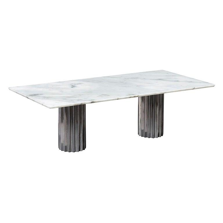 Pleasing Doris Double Pedestal Dining Table In White Carrara Marble And Cast Aluminum Ocoug Best Dining Table And Chair Ideas Images Ocougorg