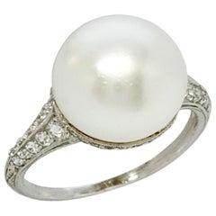 Doris Duke's Platinum Diamond and Natural Pearl Ring