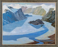 Pangnirtung - Depiction of Arctic landscape in tones of blues and browns