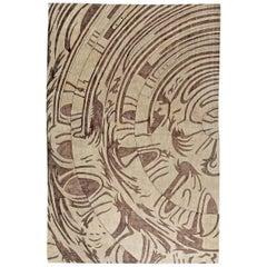 Doris Lesie Blau Collection Abstract Warm Beige and Brown Handmade Silk Rug