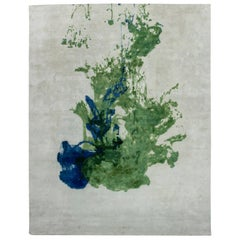 Doris Leslie Blau Collection Abstract Green and Blue Color-Drop Wool Rug