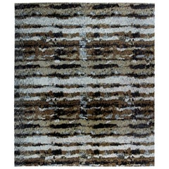 Doris Leslie Blau Collection Abstract Tibetan Style Rug in Brown & Blue Stripes