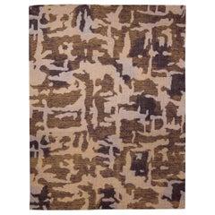 Doris Leslie Blau Collection AK2 Brown and Beige Handmade Wool Rug
