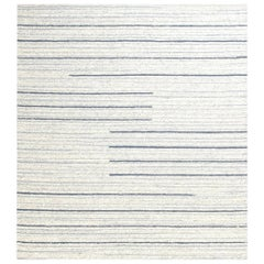 Doris Leslie Blau Collection Alpine Rug in Natural Lambswool with Blue Stripes