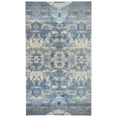 Doris Leslie Blau Collection Art Deco Design in Shades of Blue and Gray Wool Rug