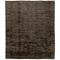 Doris Leslie Blau Collection Art Deco Design Tibetan Handmade Wool and Silk Rug