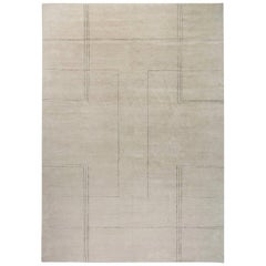 Doris Leslie Blau Collection Art Deco Inspired Beige and Black Handmade Wool Rug
