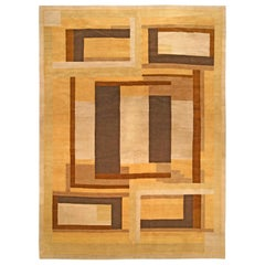 Doris Leslie Blau Collection Art Deco Inspired Brown, Beige and Yellow Rug