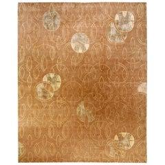 Doris Leslie Blau Collection Art Deco Inspired Tibetan Rug in Brown and Beige