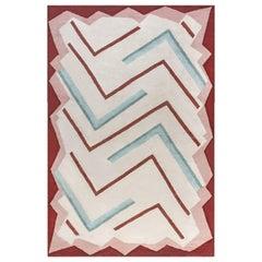 Doris Leslie Blau Collection Art Deco Style Beige, Brown, Green & Pink Wool Rug
