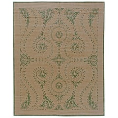 Doris Leslie Blau Collection Art Deco Style Green and Beige Handmade Wool Rug