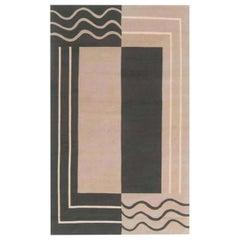 Doris Leslie Blau Collection Aubusson Design Geometric Rug in Beige & Deep Green