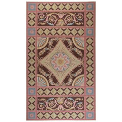 Doris Leslie Blau Collection Aubusson Design Rug in Blue, Brown, Green, and Pink