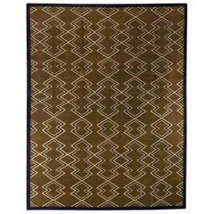 Doris Leslie Blau Collection Aztec Geometric Design Rug in Beige, Brown and Navy