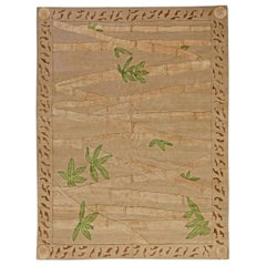 Doris Leslie Blau Collection Bamboo Handmade Wool and Silk Rug in Brown & Green