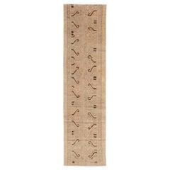 Doris Leslie Blau Collection Beige and Brown Samarkand Runner 'Fragment' Rug