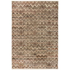 Doris Leslie Blau Collection Beige and Brown Textured Chevron Rug