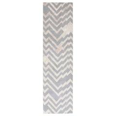 Doris Leslie Blau Collection Beige and Grey Handmade Wool and Silk Runner